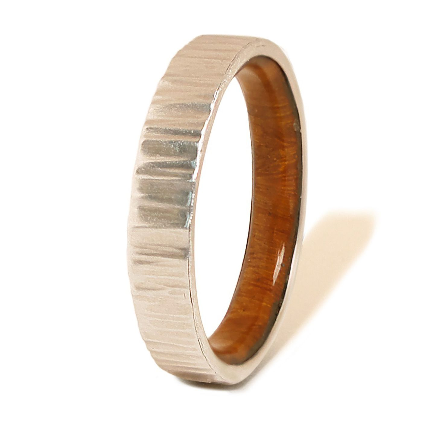 Silver hammered ring and lignum vitae wood