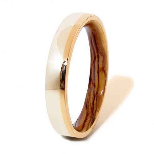 Alianzas con madera y oro Anillo de madera de olivo oro y plata de ley 260,00€ Viademonte Jewelry