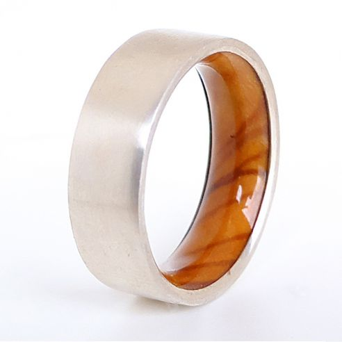Silver wood bands Brushed sterling silver ring and olive wood inside 150,00€ Viademonte Jewelry
