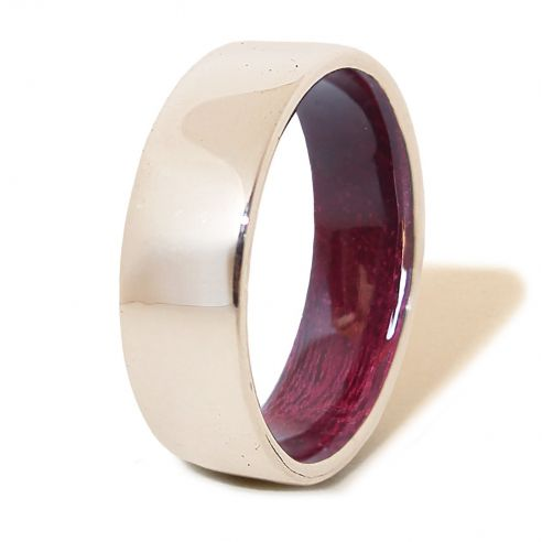 Silver wood bands Purple Heart wood sterling silver ring 112,50€ Viademonte Jewelry