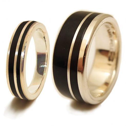 Paar Ringe Ring aus Sterlingsilber und Ebenholz, € Viademonte Jewelry