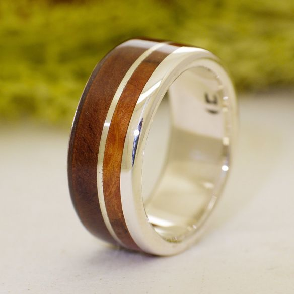 Silver wood rings Walnut and juniper sterling silver ring 160,00€ Viademonte Jewelry