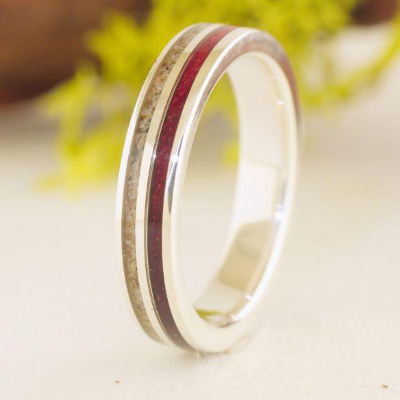 Anells amb Sorra Aliança de fusta de amarant sorra i plata 150,00 € Viademonte Jewelry
