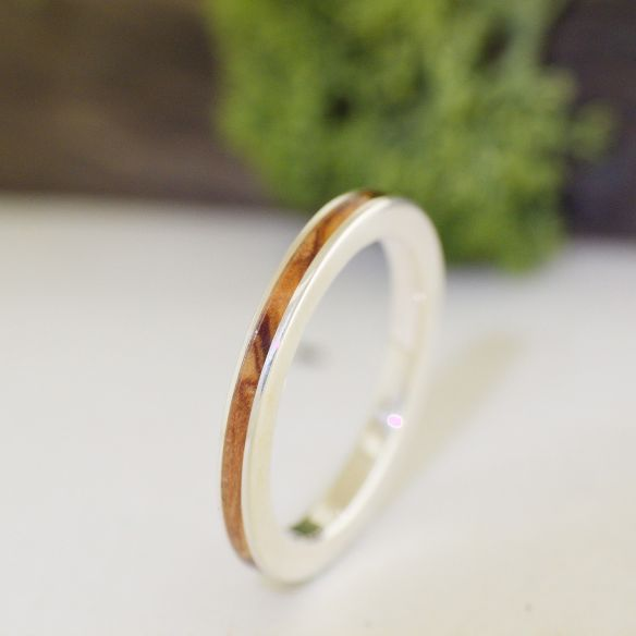 Stackable rings Olive wood sterling silver ring 120,00€ Viademonte Jewelry