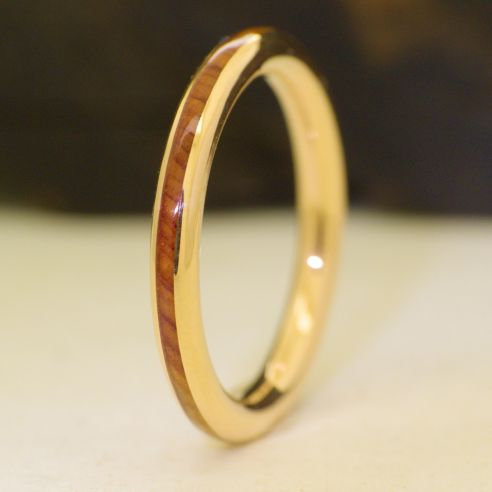 Wood Wedding Rings.Juniper Wood And Yellow Gold Engagement Ring 18k