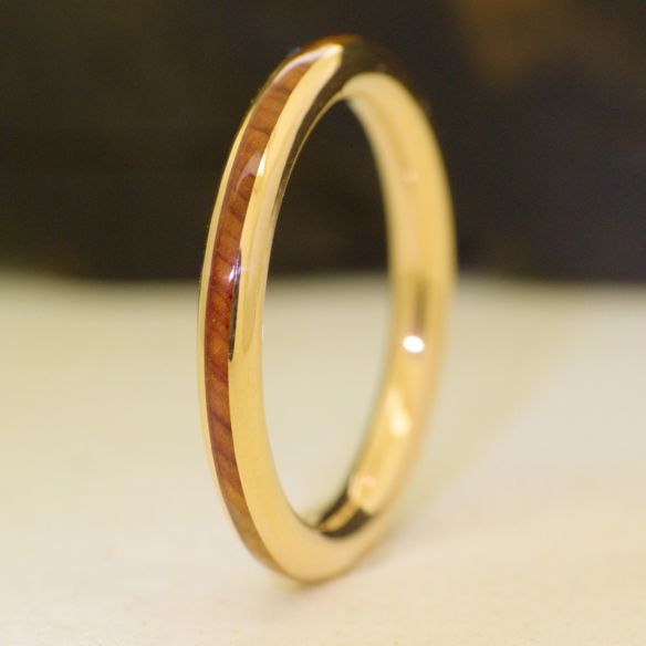 Stackable rings Juniper wood and yellow gold engagement ring 18k 360,00 € Viademonte Jewelry