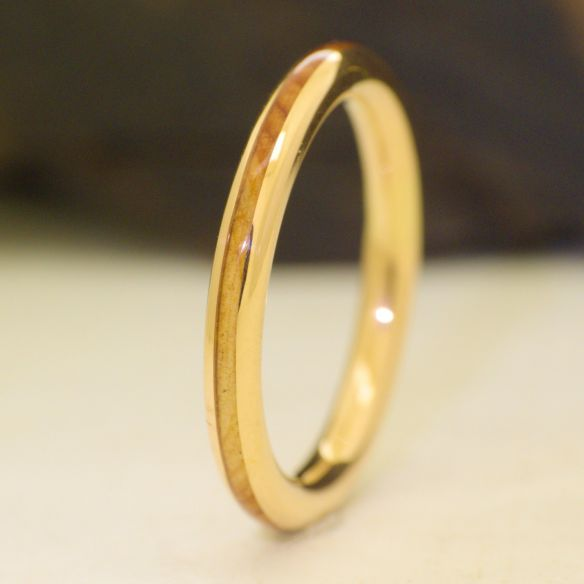 Stackable rings Juniper wood and yellow gold engagement ring 18k 440,00€ Viademonte Jewelry