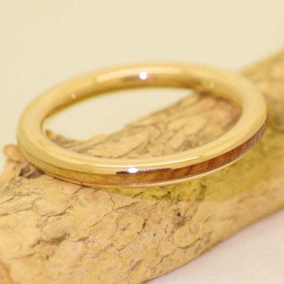 Stackable rings Juniper wood and yellow gold engagement ring 18k 370,00 € Viademonte Jewelry