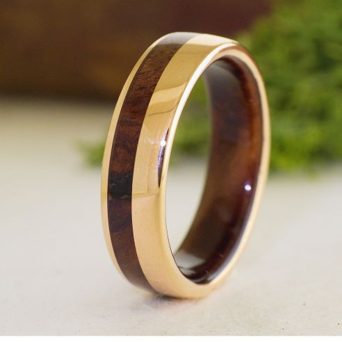 Gold wood rings Rose gold 18k inlay wedding ring with walnut wood 634,50€ Viademonte Jewelry