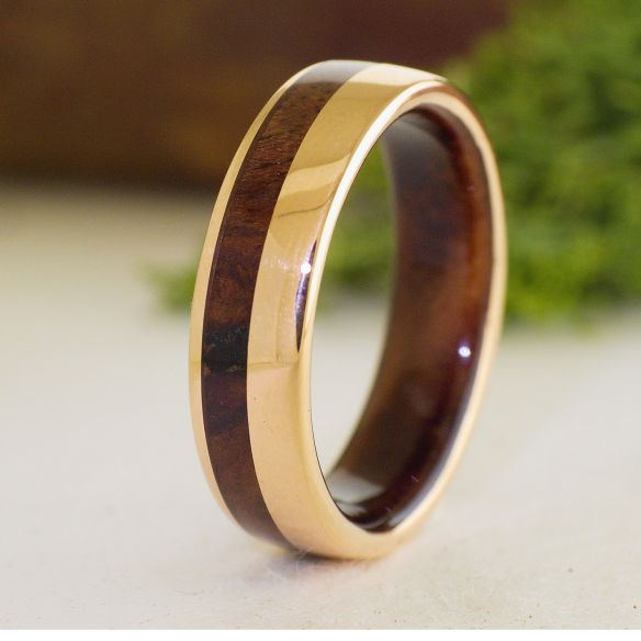 Gold wood rings Rose gold 18k inlay wedding ring with walnut wood 790,00€ Viademonte Jewelry