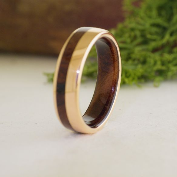 Mens Rose Gold Wedding Band.Rose Gold 18k Inlay Wedding Ring With Walnut Wood