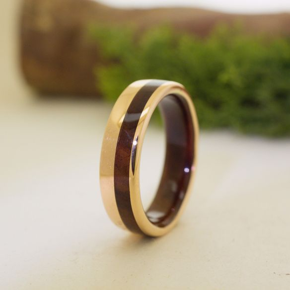 Gold wood rings Rose gold 18k inlay wedding ring with walnut wood 705,00€ Viademonte Jewelry