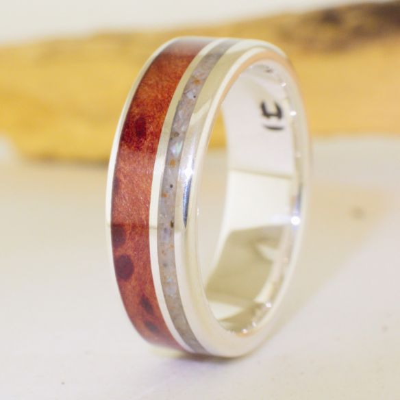 Sand rings Silver ring sand and cherry wood 185,00 € Viademonte Jewelry