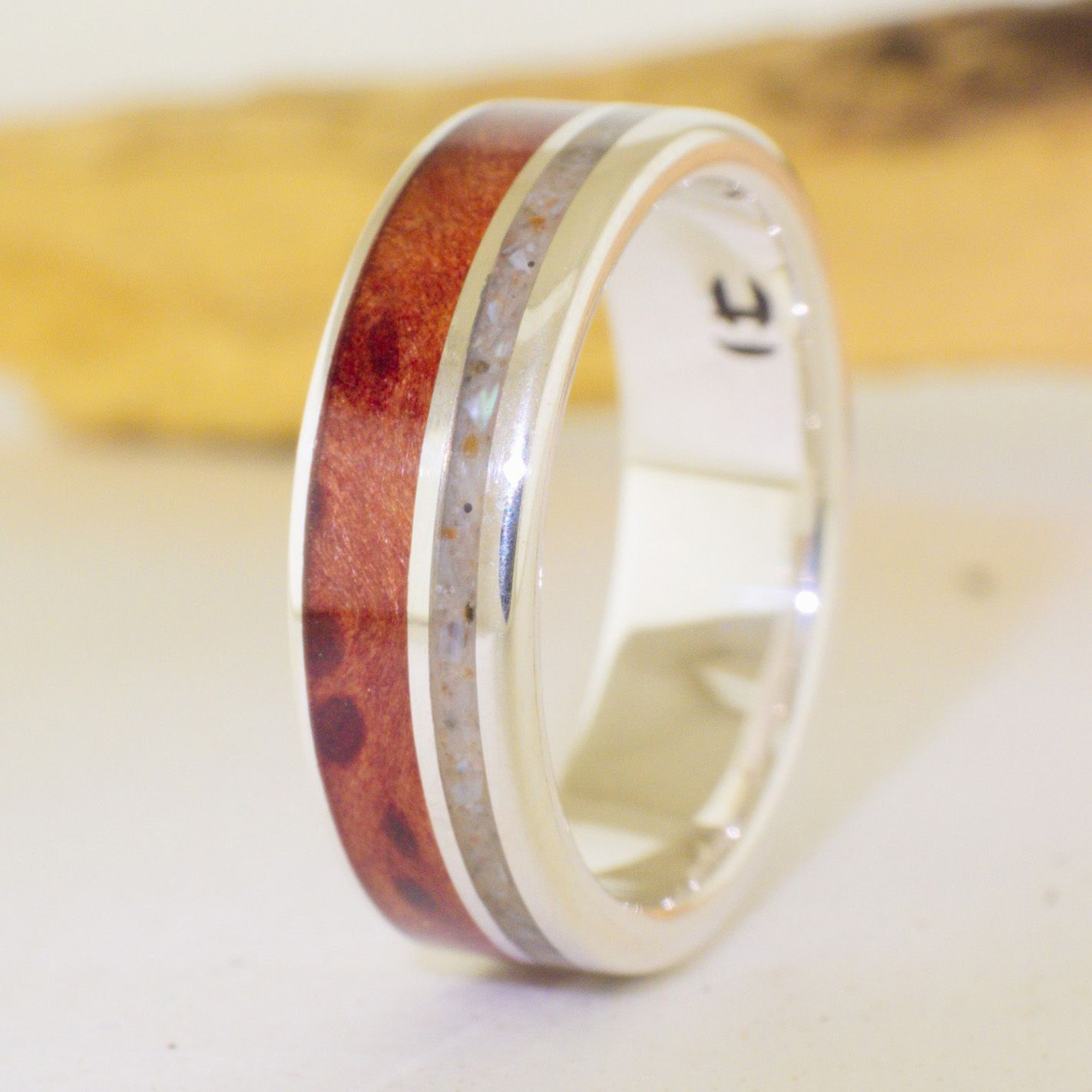 Silver And Wood Mens Rings 79