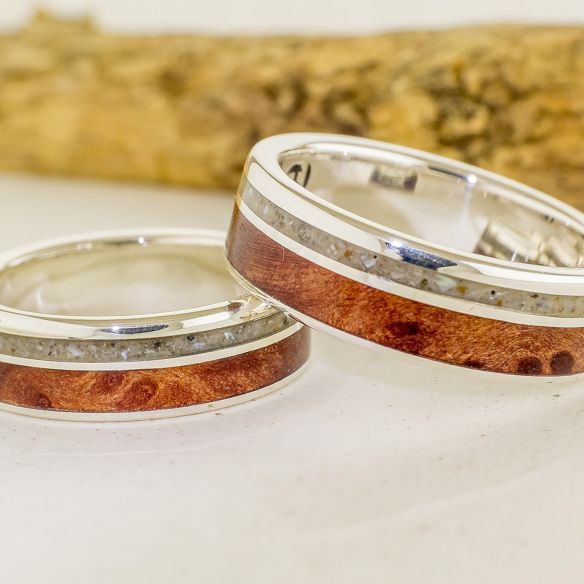 Ring sets Set silver ring sand and cherry wood 340,00 € Viademonte Jewelry