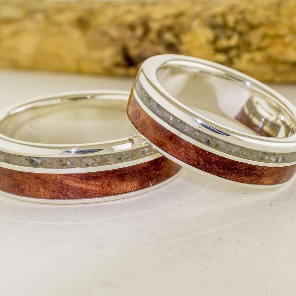 Parejas de anillos Alianzas de plata, arena y cerezo 340,00€ Viademonte Jewelry