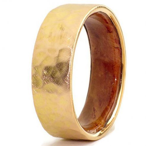 Wood wedding bands Gold wood bands 18k gold ring and briar wood inside 545,00€ Viademonte Jewelry