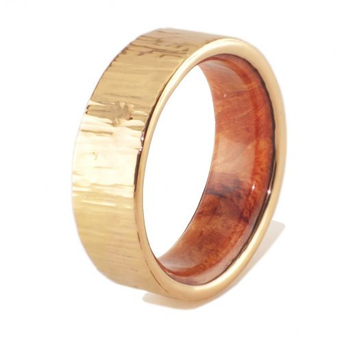 Wood wedding bands Gold wood bands Gold ring and briar wood inside 545,00 € Viademonte Jewelry