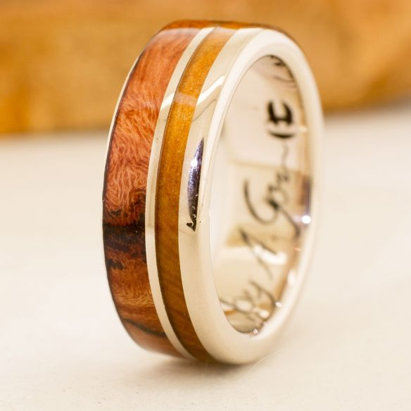Gold wood rings White gold wedding band & wood 880,00 € Viademonte Jewelry