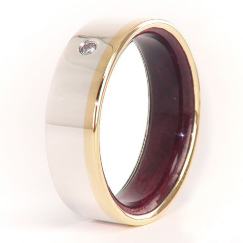 Gemstone Wooden rings Gold and silver ring and purpleheart inside with diamond 330,00€ Viademonte Jewelry