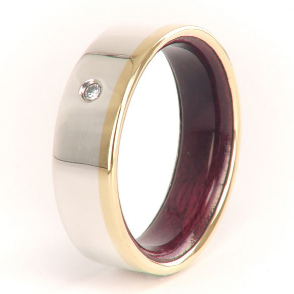 Stone rings Gold and silver ring and purpleheart inside with diamond 330,00€ Viademonte Jewelry