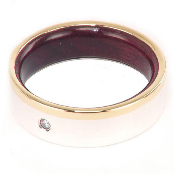 Anillos con piedras preciosas Anillo de oro, plata y madera de amaranto con diamante 330,00€ Viademonte Jewelry