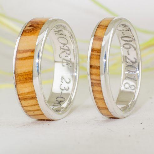 Parejas de anillos Anillos de madera y plata - Anillos de olivo - Anillos de matrimonio 217,50€ Viademonte Jewelry