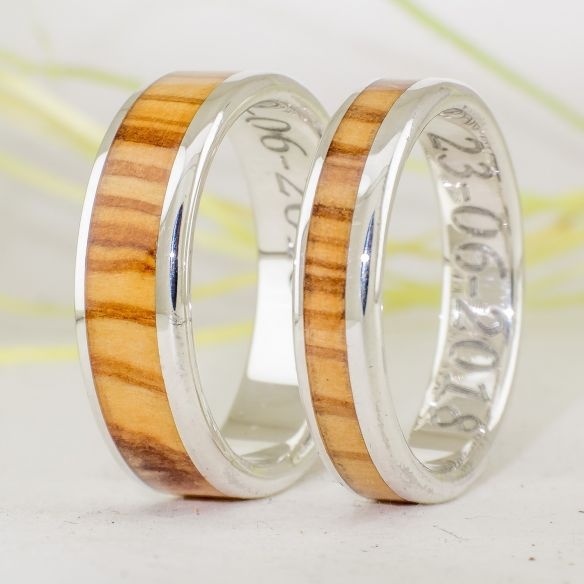 Parejas de anillos Anillos de madera y plata - Anillos de olivo - Anillos de matrimonio 220,00€ Viademonte Jewelry