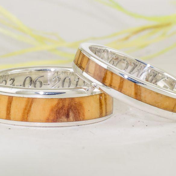 Coppie di anelli Anelli in legno e argento - Anelli d'oliva - Anelli matrimonio € Viademonte Jewelry