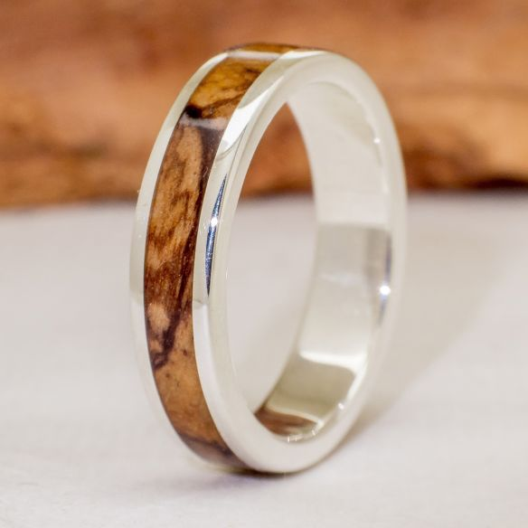 Silver wood rings Wooden silver band - Olive 112,50 € Viademonte Jewelry