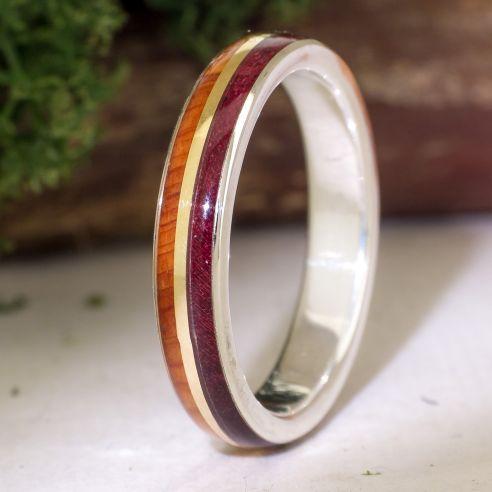 Gold wood rings Juniper & purple heart ring 145,00€ Viademonte Jewelry