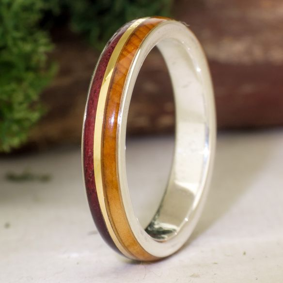 Gold wood rings Juniper & purple heart ring 215,00 € Viademonte Jewelry