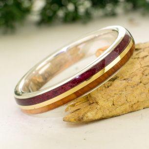Anillos con madera y oro Anillo de plata y oro - Madera de enebro y amaranto 215,00€ Viademonte Jewelry