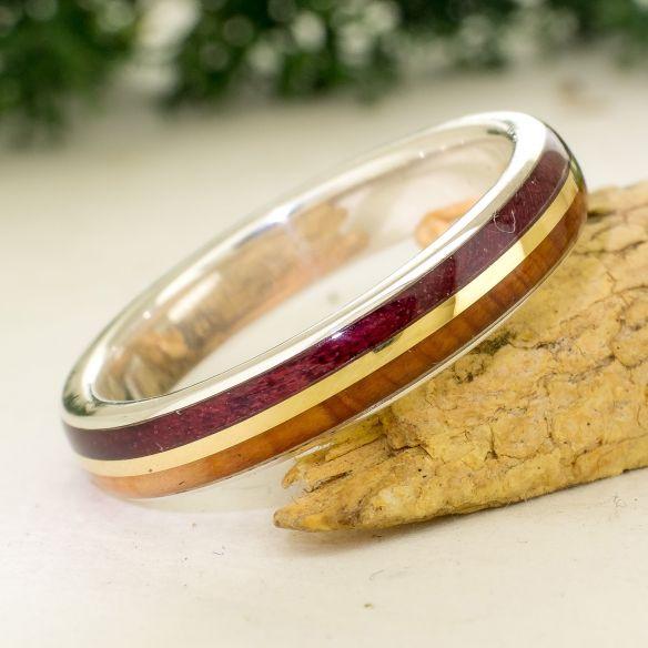 Anillos con madera y oro Anillo de plata y oro - Madera de enebro y amaranto 200,00€ Viademonte Jewelry
