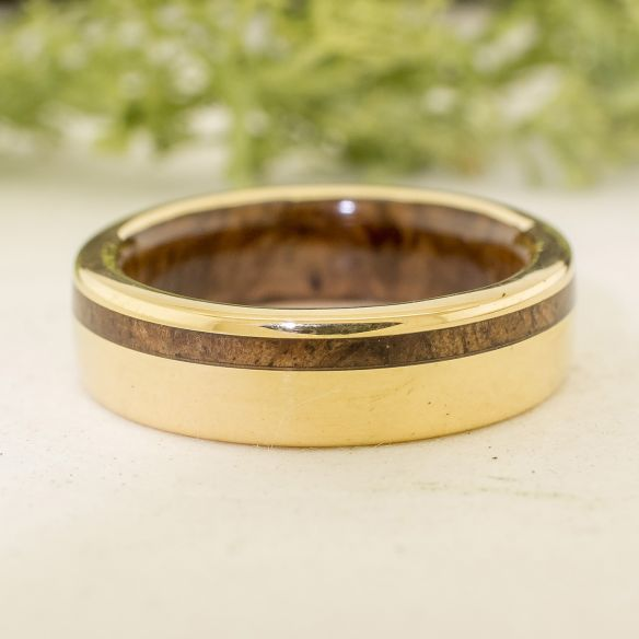 Gold wood rings Yellow gold wedding band and walnut wood 690,00 € Viademonte Jewelry