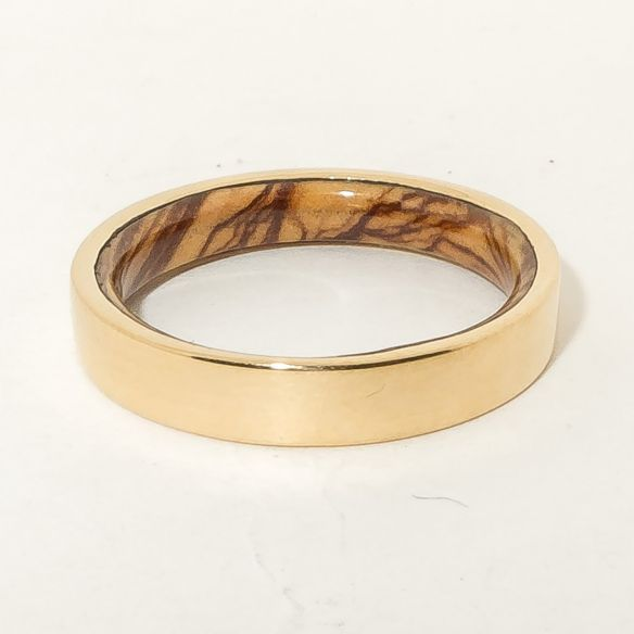 Gold wood bands 18k gold ring and olive wood inside 490,00€ Viademonte Jewelry