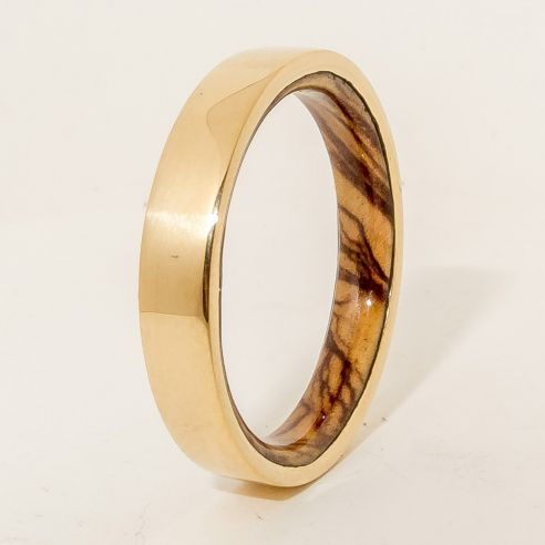 Wood Wedding Rings.18k Gold Ring And Olive Wood Inside