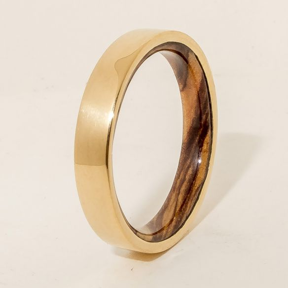 Wood wedding bands Gold wood bands 18k gold ring and olive wood inside 375,00€ Viademonte Jewelry