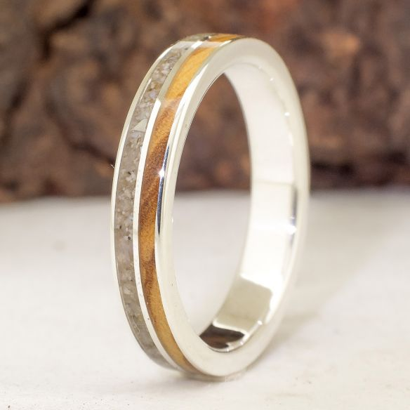 Sand rings Sand and olive silver ring 150,00 € Viademonte Jewelry
