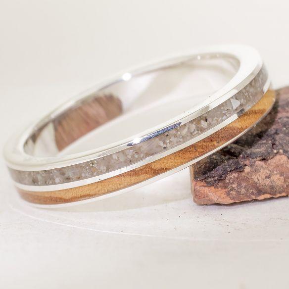 Anillos con Arena Anillo de plata de ley, arena y olivo 150,00€ Viademonte Jewelry