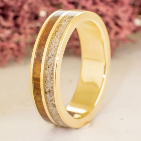 Gold Wedding Rings.Yellow Gold Band Sand Juniper Wood