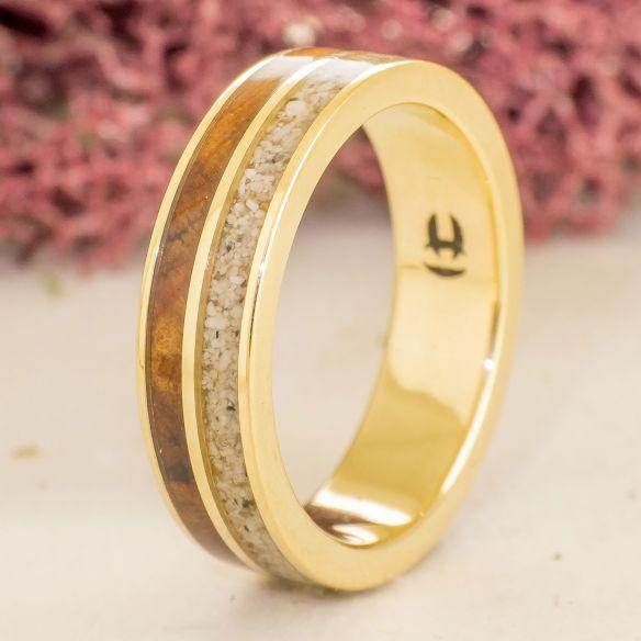 Sand rings Yellow gold band sand & juniper wood 750,00€ Viademonte Jewelry