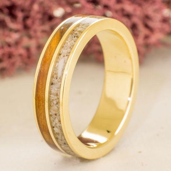 Anelli con Sabbia Anello da uomo in oro - Viademonte Jewelry oro giallo con ginepro e sabbia € 750,00 Viademonte Jewelry