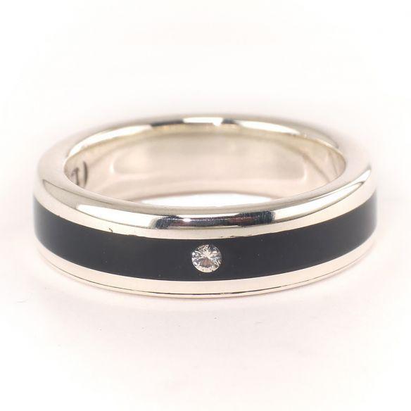 Anillos con piedras preciosas Anillo plata, ébano y diamante 200,00€ Viademonte Jewelry