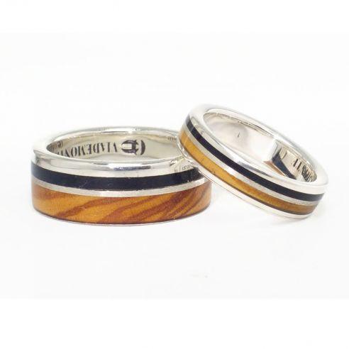 Coppie di anelli Fedi moderne con argento, legno d'ulivo ed Viademonte Jewelry € 300,00 Viademonte Jewelry