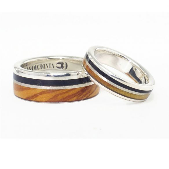 Parejas de anillos Alianzas de boda modernas con plata, madera de olivo y ebano 300,00€ Viademonte Jewelry