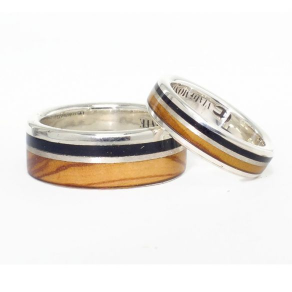 Ring sets Set olive and ebony wood sterling silver ring 315,00€ Viademonte Jewelry