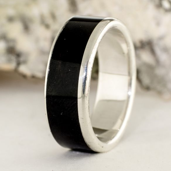 Silver wood rings Sterling silver ring and ebony wood 165,00 € Viademonte Jewelry