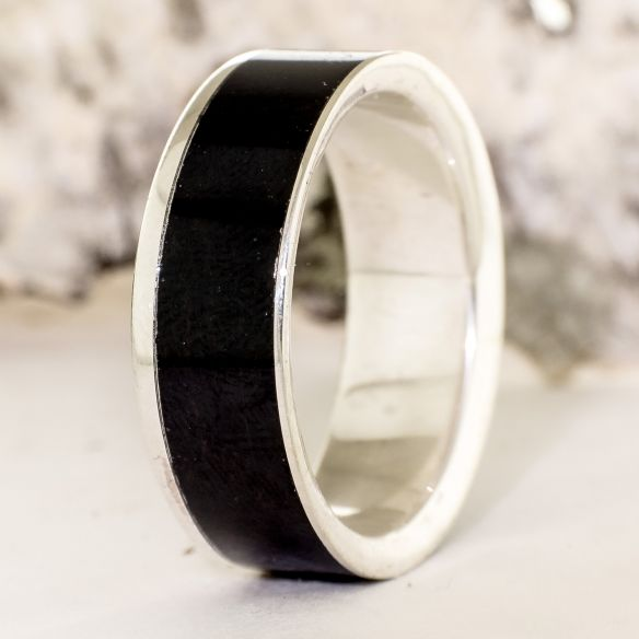 Silver wood rings Sterling silver ring and ebony wood 150,00€ Viademonte Jewelry