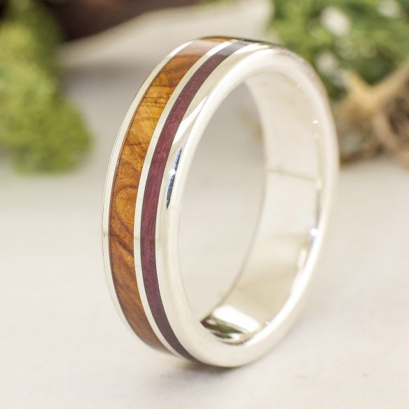 Silver wood rings Juniper and Purple heart silver ring 170,00€ Viademonte Jewelry